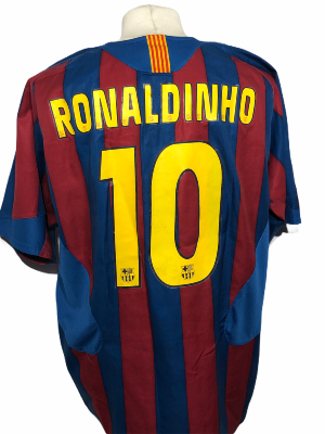 "FC Barcelone 2005-2006 HOME Taille ""XL"" 10 Ronaldinho"